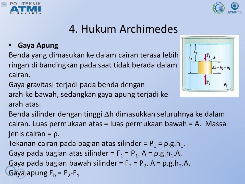 4. Hukum Archimedes Gaya Apung Benda yang dimasukan ke dalam cairan terasa lebih ringan di bandingkan pada saat tidak berada dalam cairan. Gaya gravit