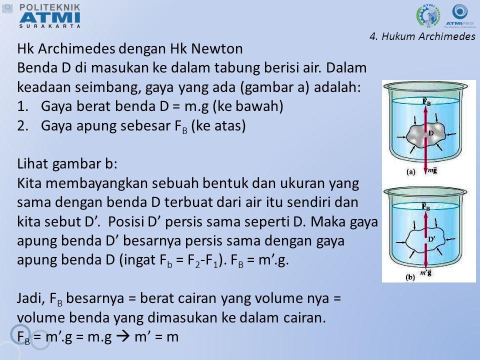 4.Hukum Archimedes Hk Archimedes dengan Hk Newton Benda D di masukan ke dalam tabung berisi air.
