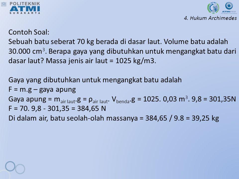 4.Hukum Archimedes Contoh Soal: Sebuah batu seberat 70 kg berada di dasar laut.
