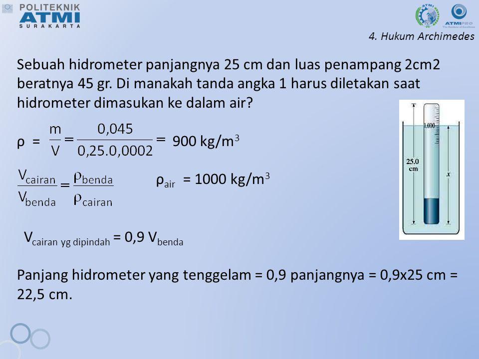 4.Hukum Archimedes Sebuah hidrometer panjangnya 25 cm dan luas penampang 2cm2 beratnya 45 gr.