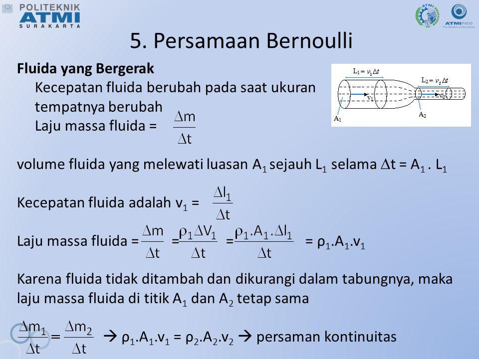 5. Persamaan Bernoulli Fluida yang Bergerak Kecepatan fluida berubah pada saat ukuran tempatnya berubah Laju massa fluida = volume fluida yang melewat