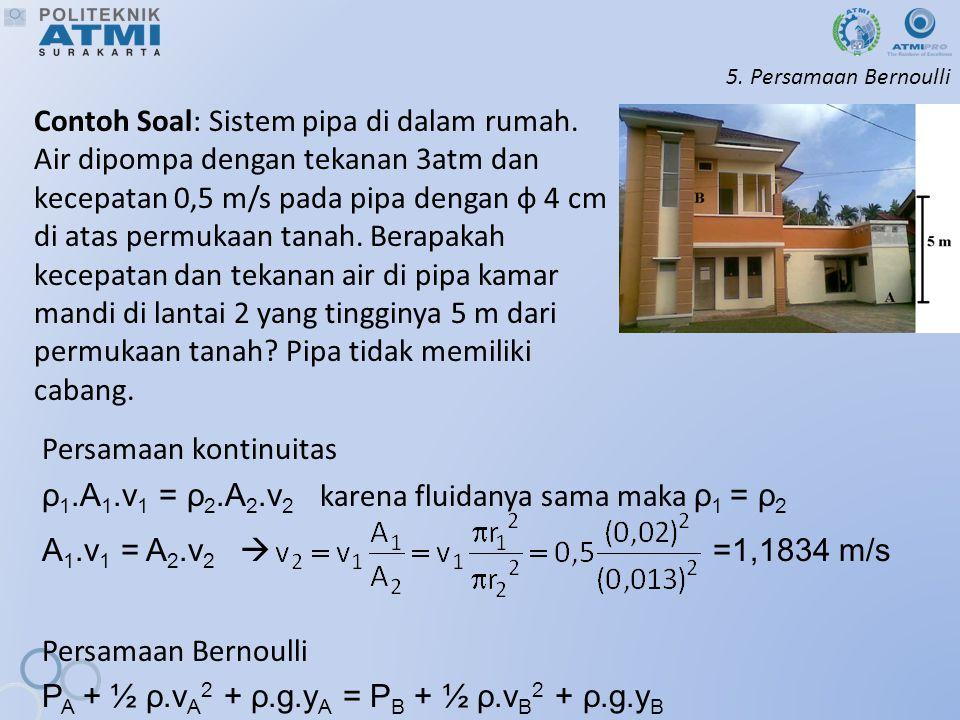 5.Persamaan Bernoulli Contoh Soal: Sistem pipa di dalam rumah.