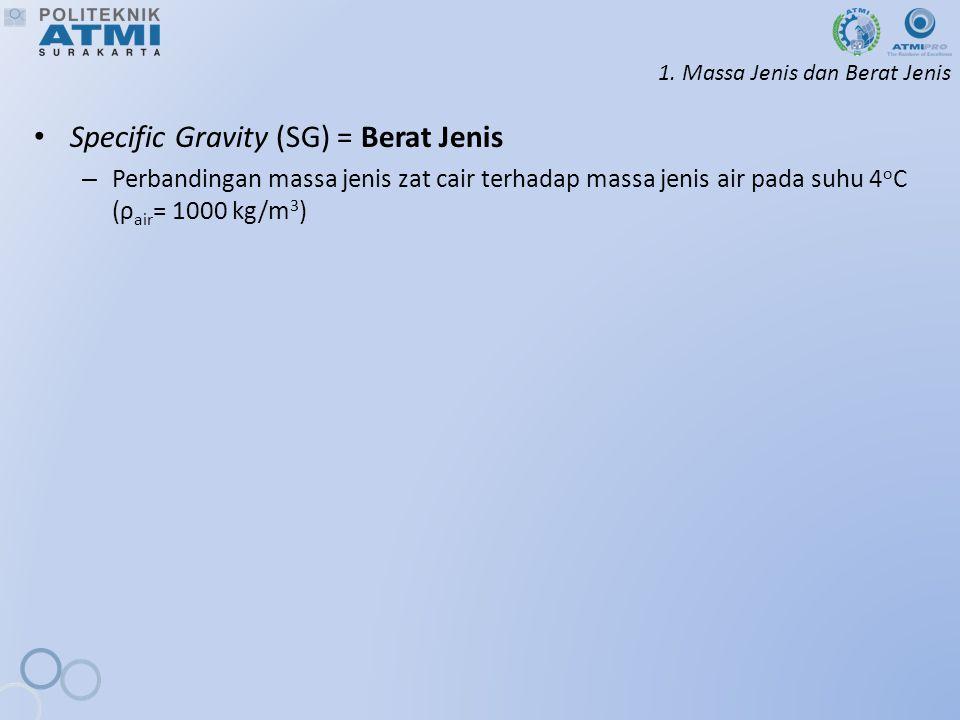 1. Massa Jenis dan Berat Jenis Specific Gravity (SG) = Berat Jenis – Perbandingan massa jenis zat cair terhadap massa jenis air pada suhu 4 o C (ρ air