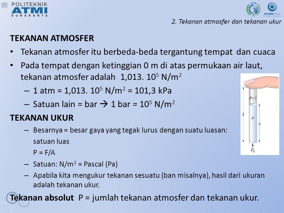 2. Tekanan atmosfer dan tekanan ukur TEKANAN ATMOSFER Tekanan atmosfer itu berbeda-beda tergantung tempat dan cuaca Pada tempat dengan ketinggian 0 m