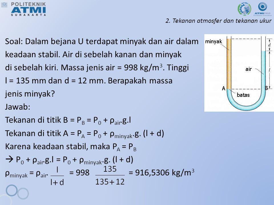 2. Tekanan atmosfer dan tekanan ukur Soal: Dalam bejana U terdapat minyak dan air dalam keadaan stabil. Air di sebelah kanan dan minyak di sebelah kir