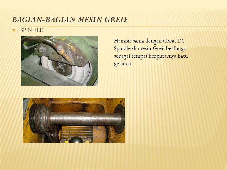BAGIAN-BAGIAN MESIN GREIF  SPINDLE Hampir sama dengan Great D1 Spindle di mesin Greif berfungsi sebagai tempat berputarnya batu gerinda.