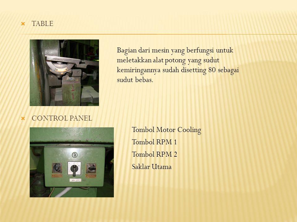  TABLE  CONTROL PANEL Bagian dari mesin yang berfungsi untuk meletakkan alat potong yang sudut kemiringannya sudah disetting 80 sebagai sudut bebas.