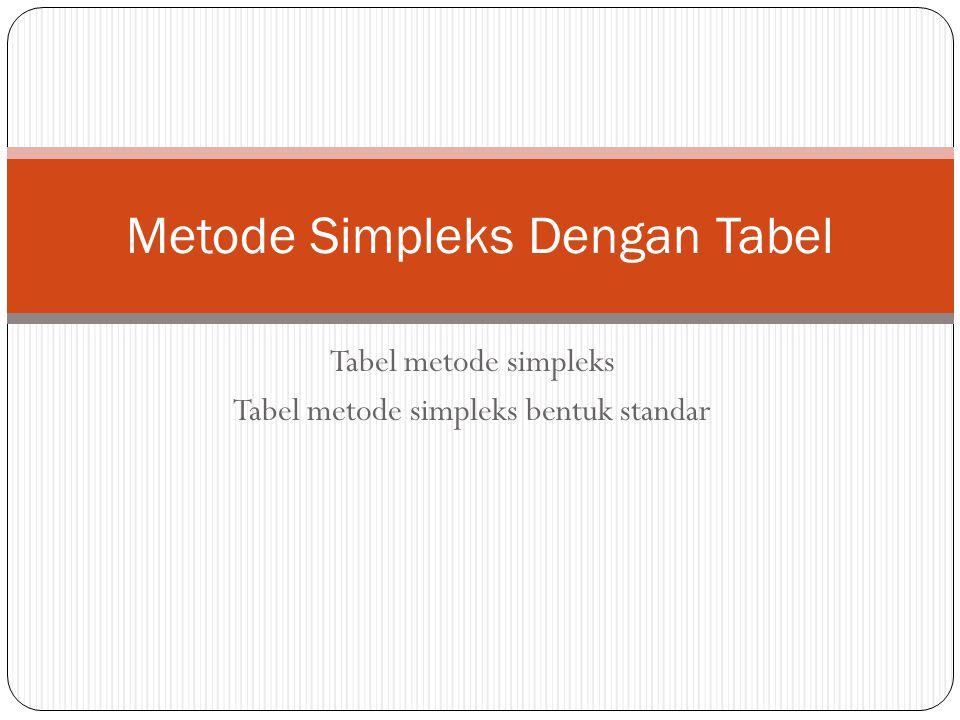 Pendahuluan Pada pembahasan ini akan dibahas mekanisme metode simpleks yang diformulasikan dengan sebuah tabel.