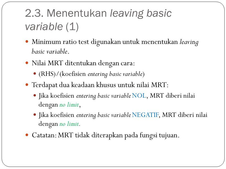 2.3. Menentukan leaving basic variable (1) Minimum ratio test digunakan untuk menentukan leaving basic variable. Nilai MRT ditentukan dengan cara: (RH