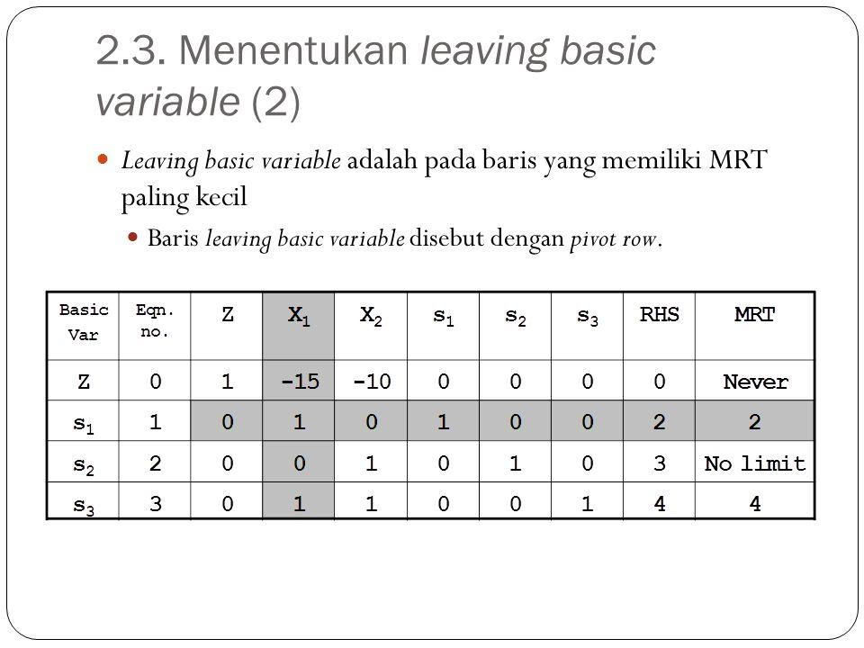 2.3. Menentukan leaving basic variable (2) Leaving basic variable adalah pada baris yang memiliki MRT paling kecil Baris leaving basic variable disebu