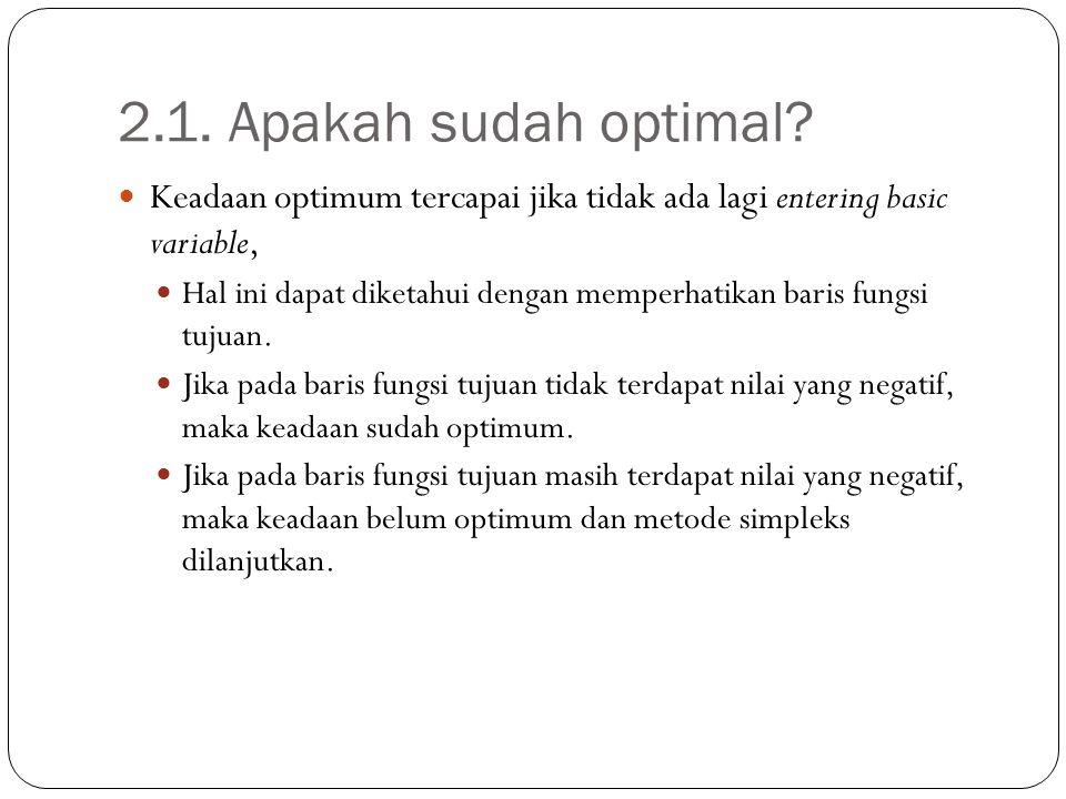 2.1. Apakah sudah optimal? Keadaan optimum tercapai jika tidak ada lagi entering basic variable, Hal ini dapat diketahui dengan memperhatikan baris fu