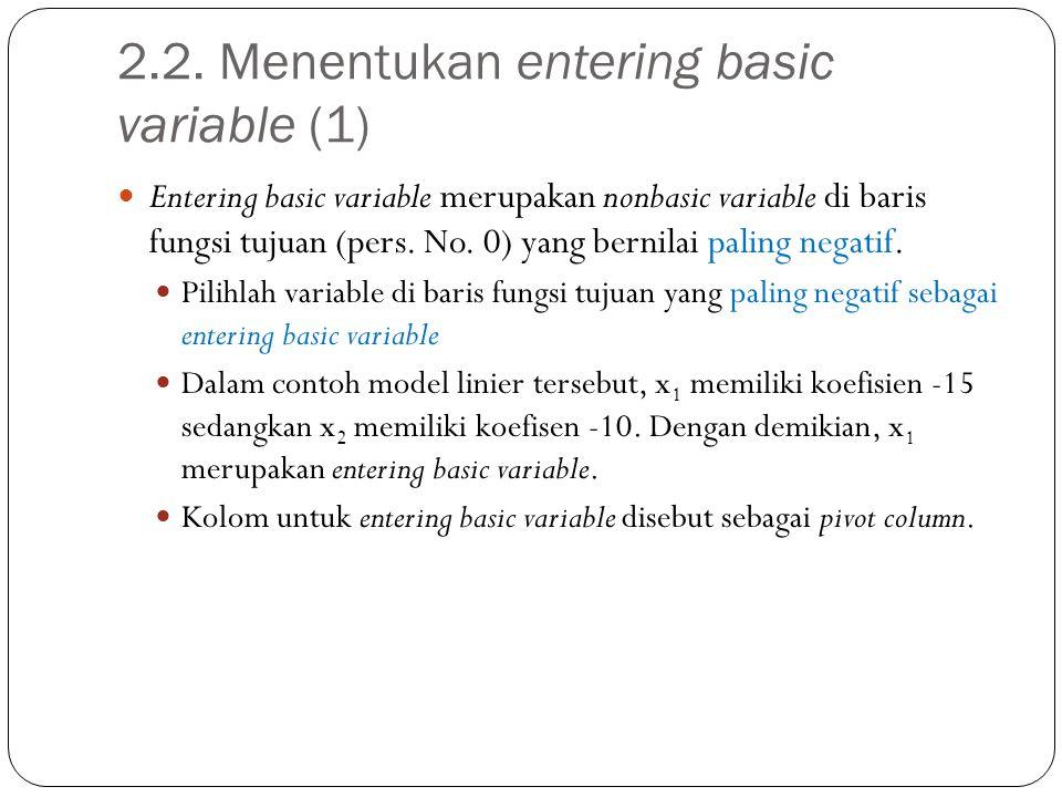 2.2. Menentukan entering basic variable (1) Entering basic variable merupakan nonbasic variable di baris fungsi tujuan (pers. No. 0) yang bernilai pal