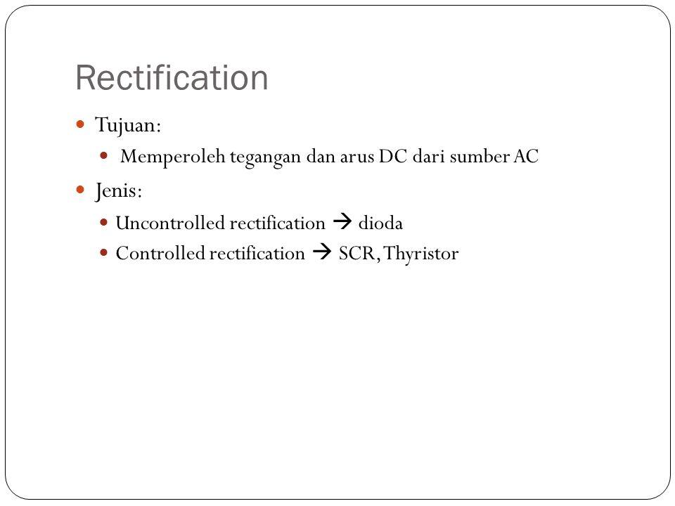 Tujuan: Memperoleh tegangan dan arus DC dari sumber AC Jenis: Uncontrolled rectification  dioda Controlled rectification  SCR, Thyristor