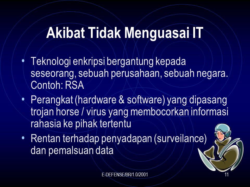 E-DEFENSE/BR/1.0/200111 Akibat Tidak Menguasai IT Teknologi enkripsi bergantung kepada seseorang, sebuah perusahaan, sebuah negara.
