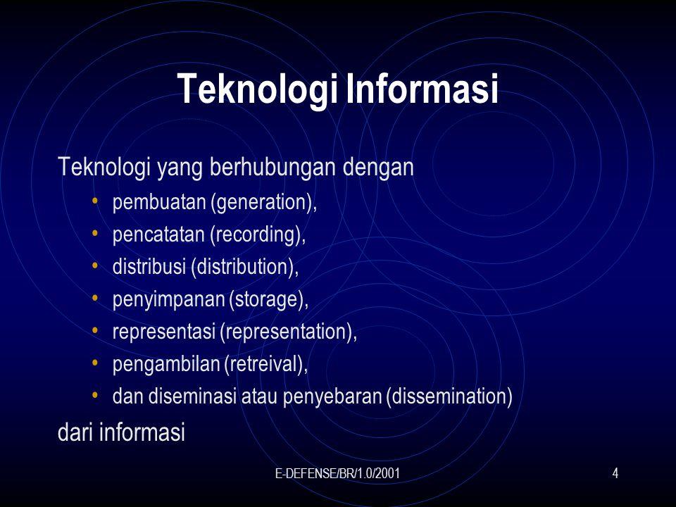 E-DEFENSE/BR/1.0/20014 Teknologi Informasi Teknologi yang berhubungan dengan pembuatan (generation), pencatatan (recording), distribusi (distribution), penyimpanan (storage), representasi (representation), pengambilan (retreival), dan diseminasi atau penyebaran (dissemination) dari informasi