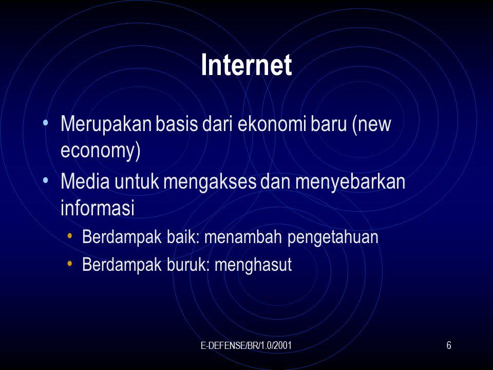 E-DEFENSE/BR/1.0/20016 Internet Merupakan basis dari ekonomi baru (new economy) Media untuk mengakses dan menyebarkan informasi Berdampak baik: menambah pengetahuan Berdampak buruk: menghasut