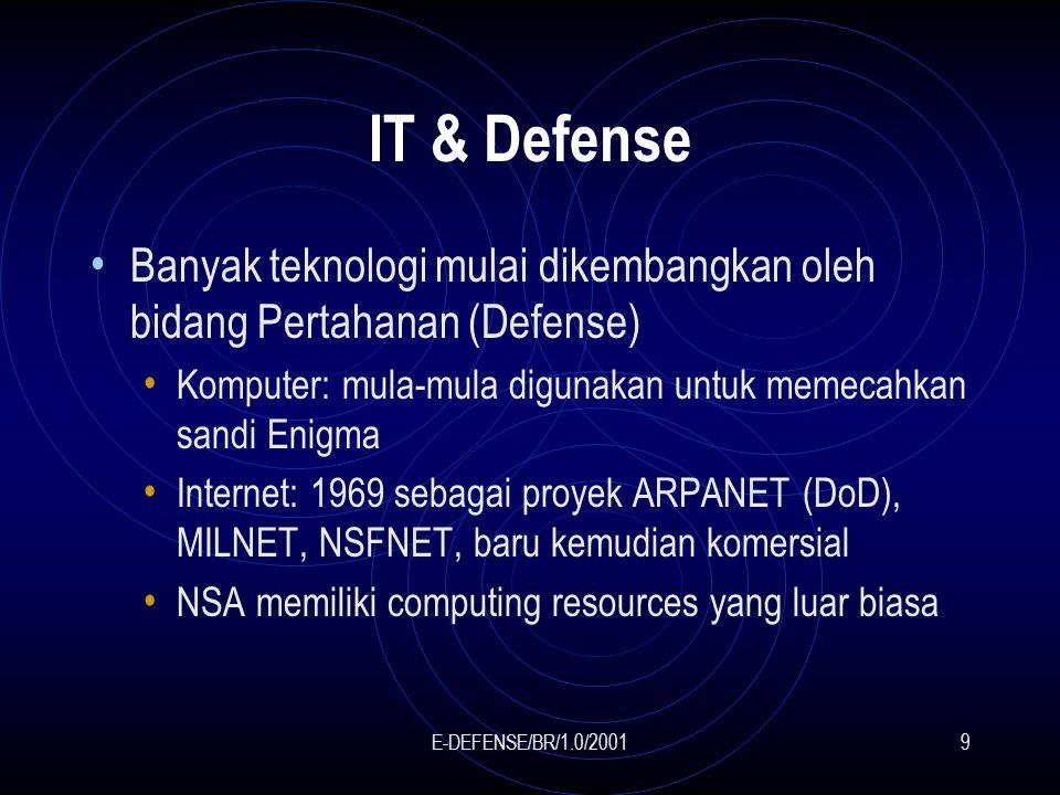 E-DEFENSE/BR/1.0/20019 IT & Defense Banyak teknologi mulai dikembangkan oleh bidang Pertahanan (Defense) Komputer: mula-mula digunakan untuk memecahkan sandi Enigma Internet: 1969 sebagai proyek ARPANET (DoD), MILNET, NSFNET, baru kemudian komersial NSA memiliki computing resources yang luar biasa