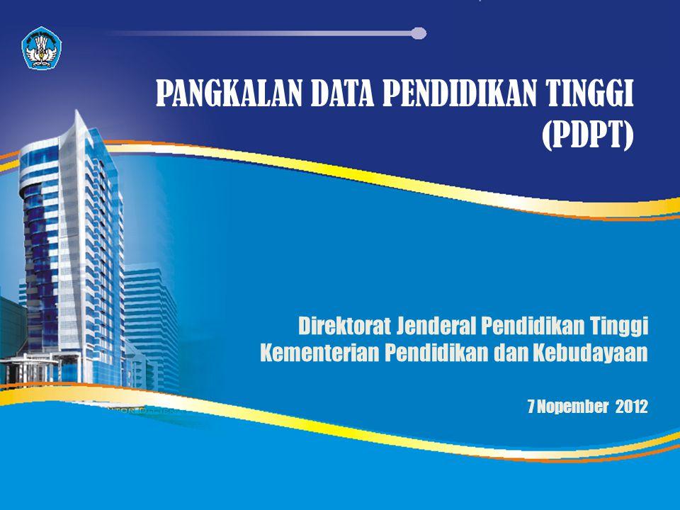 Direktorat Jenderal Pendidikan Tinggi Kementerian Pendidikan dan Kebudayaan 7 Nopember 2012 PANGKALAN DATA PENDIDIKAN TINGGI (PDPT)