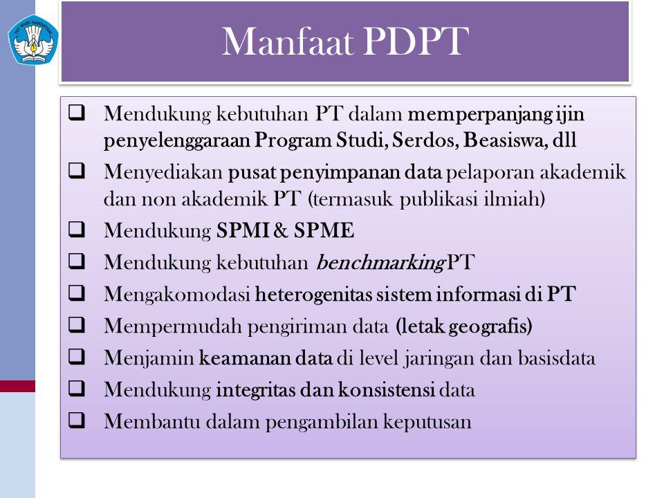 Manfaat PDPT  Mendukung kebutuhan PT dalam memperpanjang ijin penyelenggaraan Program Studi, Serdos, Beasiswa, dll  Menyediakan pusat penyimpanan data pelaporan akademik dan non akademik PT (termasuk publikasi ilmiah)  Mendukung SPMI & SPME  Mendukung kebutuhan benchmarking PT  Mengakomodasi heterogenitas sistem informasi di PT  Mempermudah pengiriman data (letak geografis)  Menjamin keamanan data di level jaringan dan basisdata  Mendukung integritas dan konsistensi data  Membantu dalam pengambilan keputusan  Mendukung kebutuhan PT dalam memperpanjang ijin penyelenggaraan Program Studi, Serdos, Beasiswa, dll  Menyediakan pusat penyimpanan data pelaporan akademik dan non akademik PT (termasuk publikasi ilmiah)  Mendukung SPMI & SPME  Mendukung kebutuhan benchmarking PT  Mengakomodasi heterogenitas sistem informasi di PT  Mempermudah pengiriman data (letak geografis)  Menjamin keamanan data di level jaringan dan basisdata  Mendukung integritas dan konsistensi data  Membantu dalam pengambilan keputusan