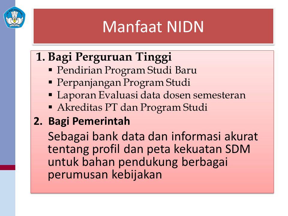 Manfaat NIDN 1.Bagi Perguruan Tinggi  Pendirian Program Studi Baru  Perpanjangan Program Studi  Laporan Evaluasi data dosen semesteran  Akreditas PT dan Program Studi 2.