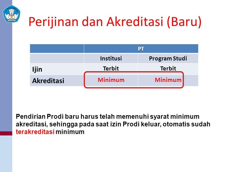 Perijinan dan Akreditasi (Baru) PT InstitusiProgram Studi Ijin Terbit Akreditasi Minimum Pendirian Prodi baru harus telah memenuhi syarat minimum akreditasi, sehingga pada saat izin Prodi keluar, otomatis sudah terakreditasi minimum