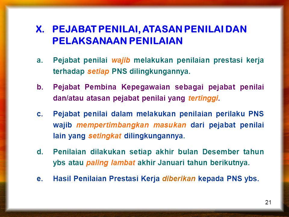 21 X.PEJABAT PENILAI, ATASAN PENILAI DAN PELAKSANAAN PENILAIAN a.Pejabat penilai wajib melakukan penilaian prestasi kerja terhadap setiap PNS dilingkungannya.