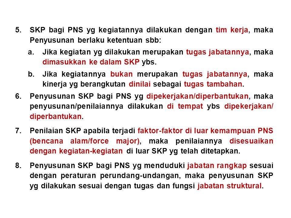 5.SKP bagi PNS yg kegiatannya dilakukan dengan tim kerja, maka Penyusunan berlaku ketentuan sbb: a.Jika kegiatan yg dilakukan merupakan tugas jabatannya, maka dimasukkan ke dalam SKP ybs.