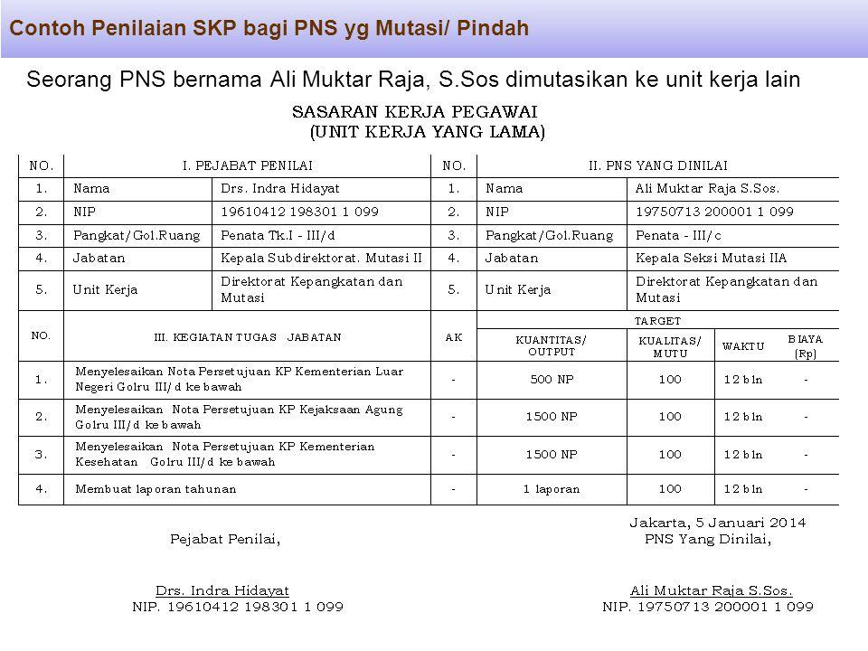 Contoh Penilaian SKP bagi PNS yg Mutasi/ Pindah Seorang PNS bernama Ali Muktar Raja, S.Sos dimutasikan ke unit kerja lain