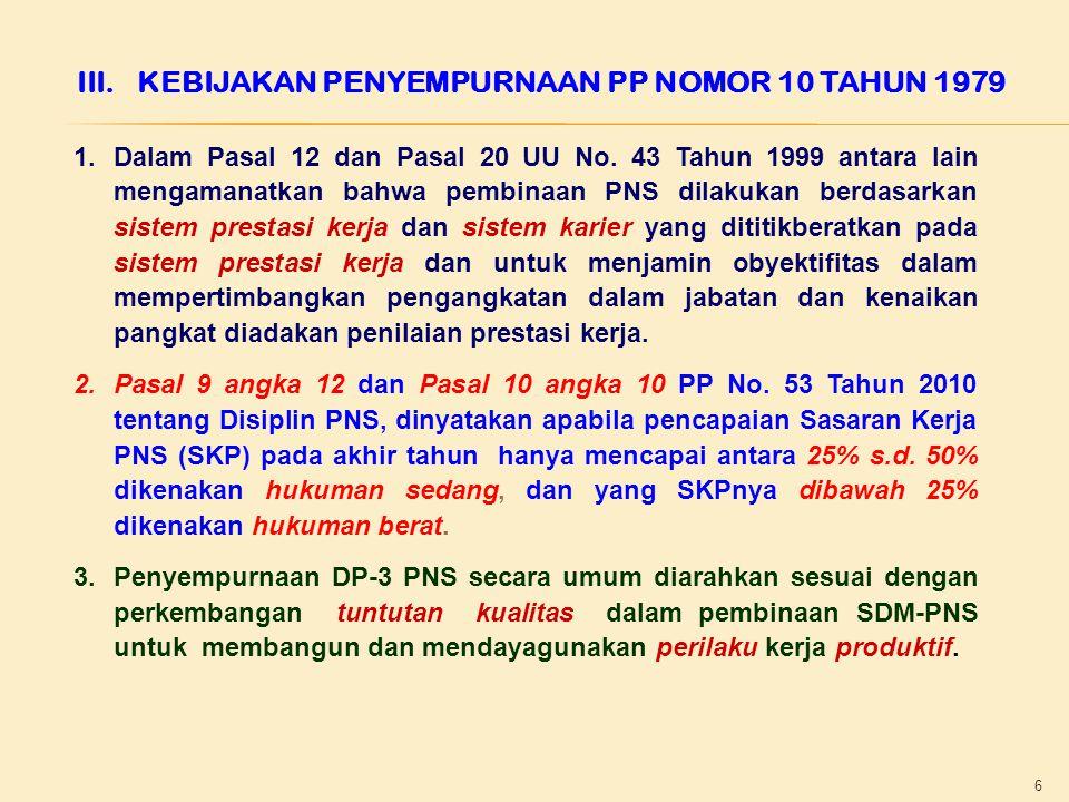 6 III.KEBIJAKAN PENYEMPURNAAN PP NOMOR 10 TAHUN 1979 1.Dalam Pasal 12 dan Pasal 20 UU No.