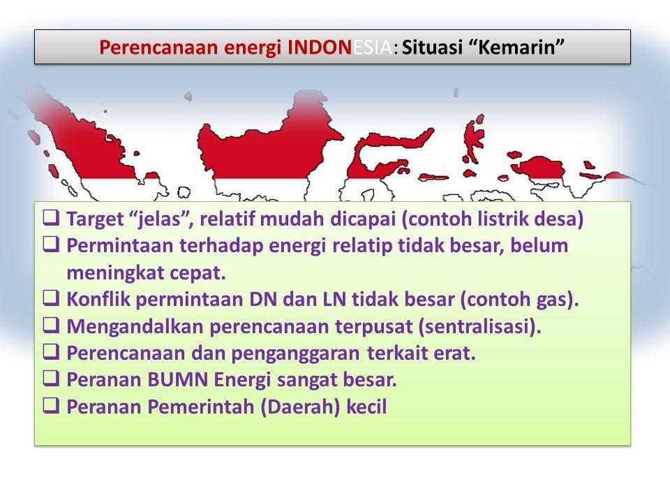 """Perencanaan energi INDONESIA: Situasi """"Kemarin""""  Target """"jelas"""", relatif mudah dicapai (contoh listrik desa)  Permintaan terhadap energi relatip tid"""
