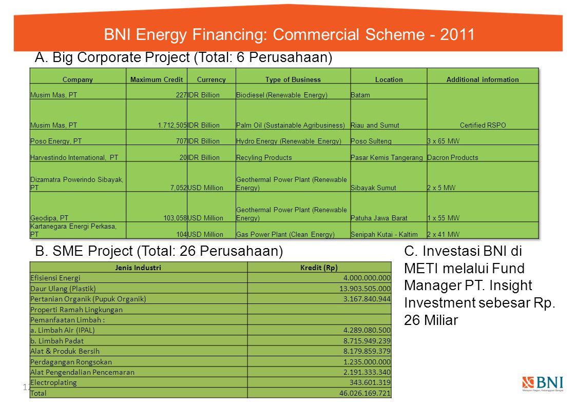 BNI Energy Financing: Commercial Scheme - 2011 12 A. Big Corporate Project (Total: 6 Perusahaan) Jenis IndustriKredit (Rp) Efisiensi Energi 4.000.000.