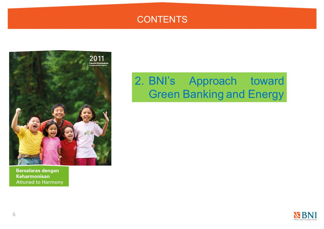 CONTENTS 6 2.BNI's Approach toward Green Banking and Energy
