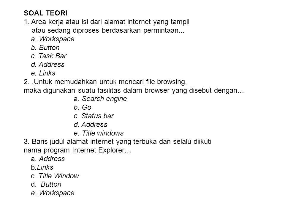 SOAL TEORI 1. Area kerja atau isi dari alamat internet yang tampil atau sedang diproses berdasarkan permintaan... a. Workspace b. Button c. Task Bar d