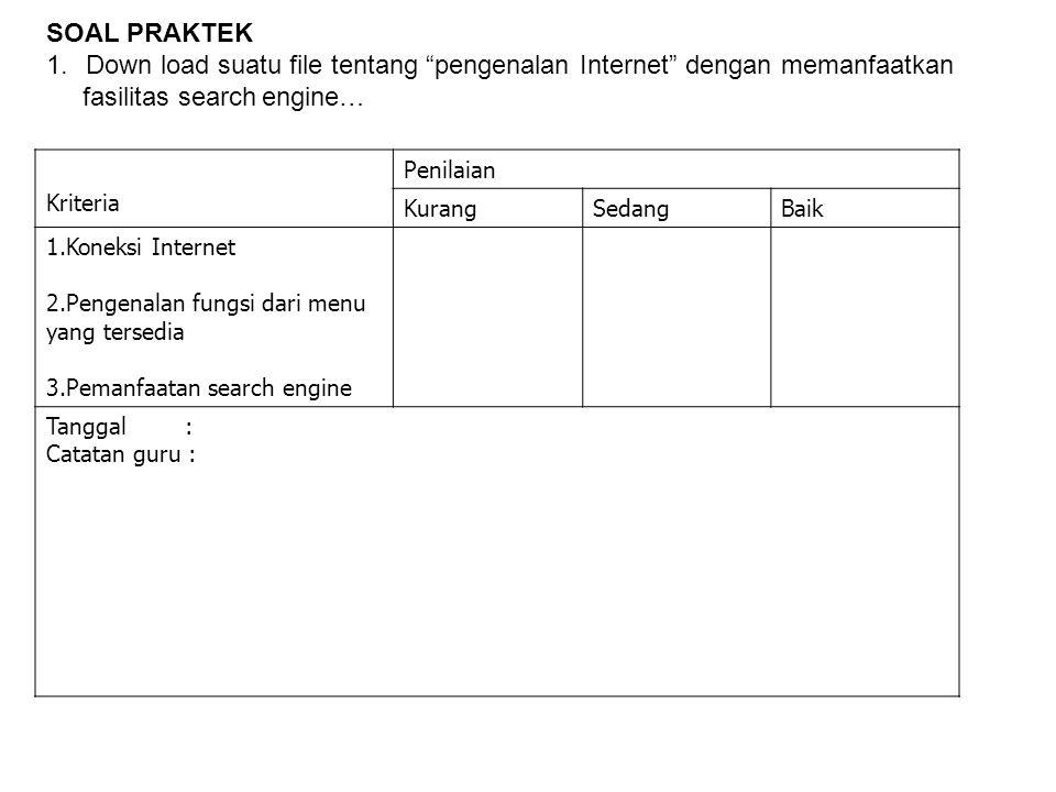 """SOAL PRAKTEK 1.Down load suatu file tentang """"pengenalan Internet"""" dengan memanfaatkan fasilitas search engine… Kriteria Penilaian KurangSedangBaik 1.K"""