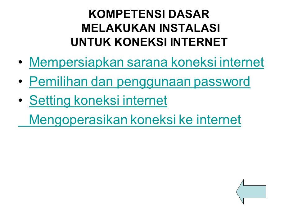 KOMPETENSI DASAR MELAKUKAN INSTALASI UNTUK KONEKSI INTERNET Mempersiapkan sarana koneksi internet Pemilihan dan penggunaan password Setting koneksi in