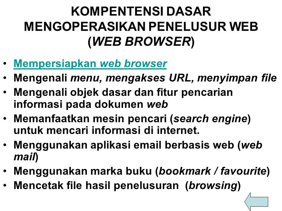 STANDAR KOMPETENSI, KOMPETENSI DASAR, INDIKATOR DAN MATERI POKOK KETRAMPILAN KOMPUTER DAN PENGELOLAAN INFORMASI STANDAR KOMPETENSI KOMPETENSI DASARINDIKATORMATERI POKOK Mengoperasikan penelusur web (web browser) Mempersiapkan web browser  Memahami petunjuk penggunaan (User manual) web browser sudah ada.