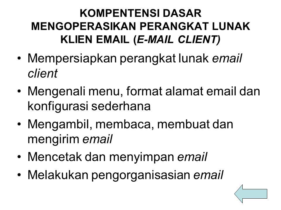 KOMPENTENSI DASAR MENGOPERASIKAN PERANGKAT LUNAK KLIEN EMAIL (E-MAIL CLIENT) Mempersiapkan perangkat lunak email client Mengenali menu, format alamat