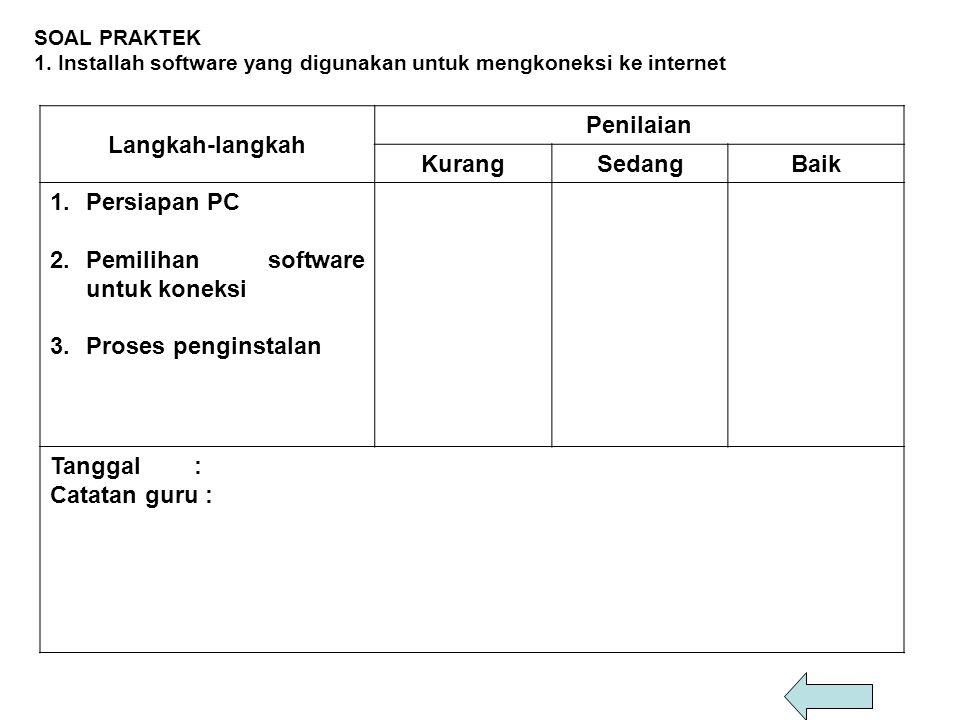 SOAL PRAKTEK 1. Installah software yang digunakan untuk mengkoneksi ke internet Langkah-langkah Penilaian KurangSedangBaik 1.Persiapan PC 2.Pemilihan
