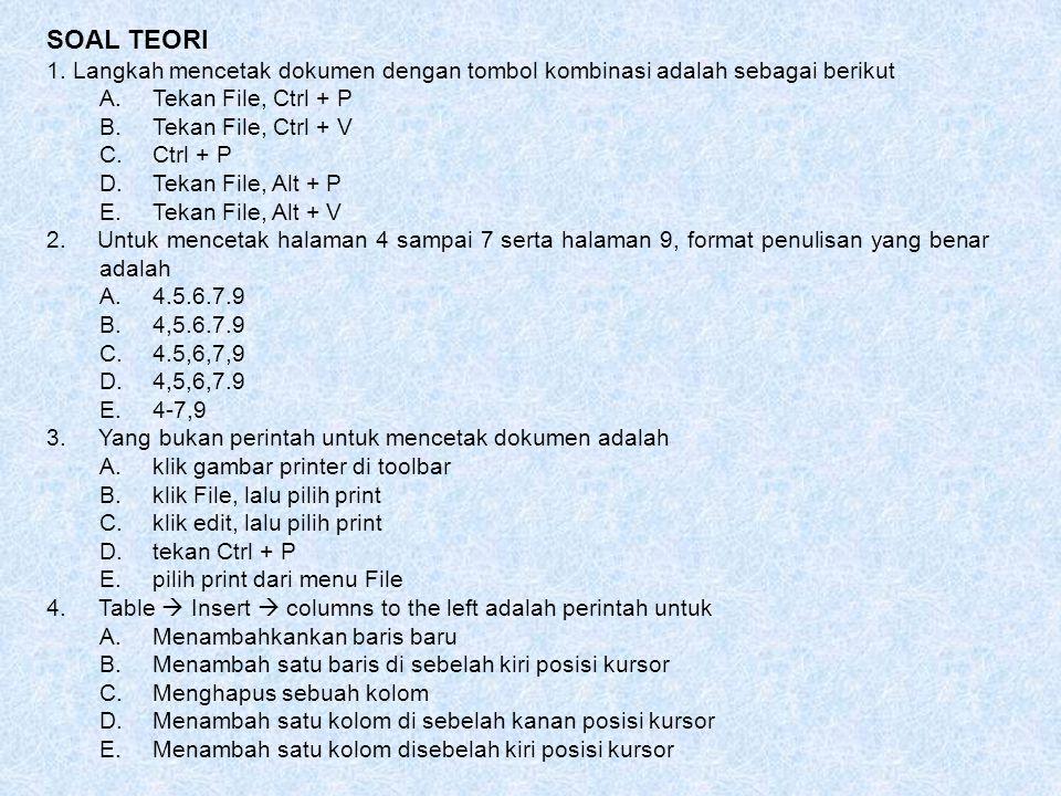 SOAL TEORI 1. Langkah mencetak dokumen dengan tombol kombinasi adalah sebagai berikut A.Tekan File, Ctrl + P B.Tekan File, Ctrl + V C.Ctrl + P D.Tekan
