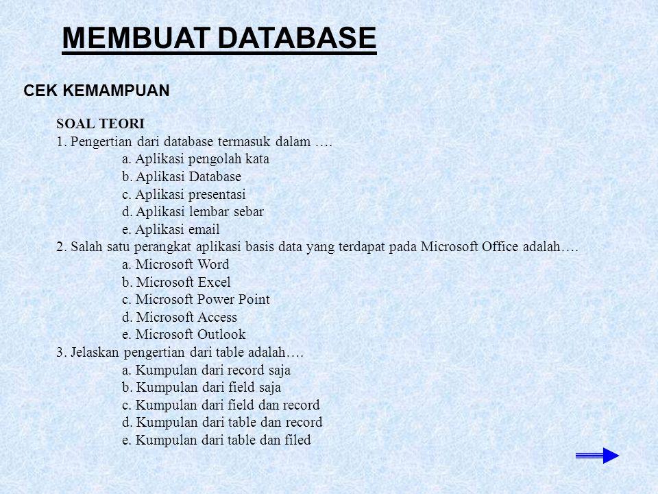 MEMBUAT DATABASE CEK KEMAMPUAN SOAL TEORI 1. Pengertian dari database termasuk dalam …. a. Aplikasi pengolah kata b. Aplikasi Database c. Aplikasi pre