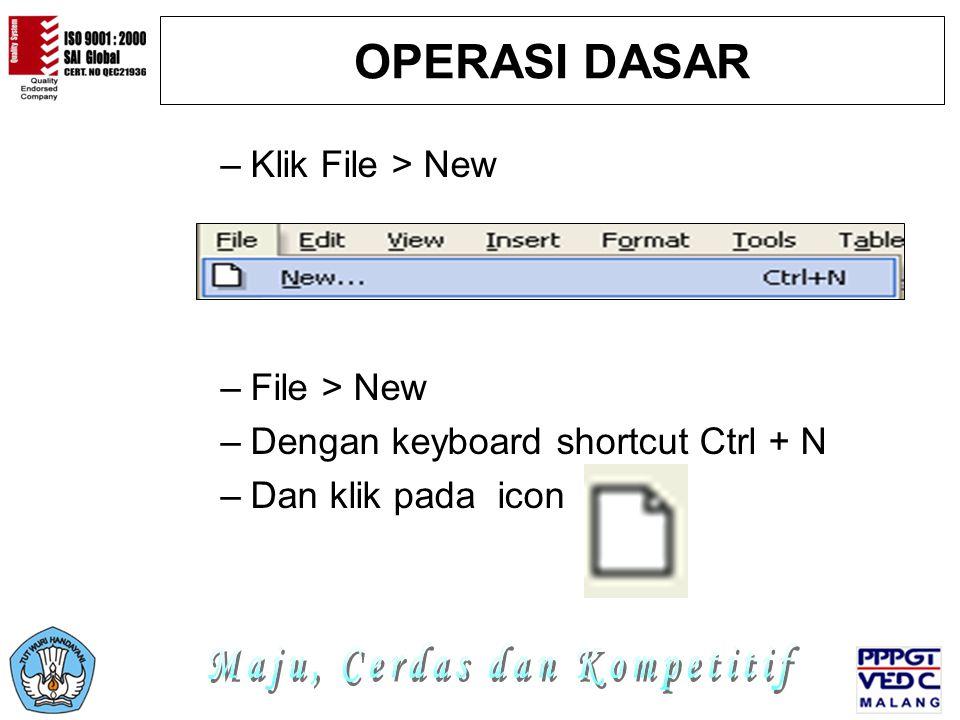 OPERASI DASAR –Klik File > New –File > New –Dengan keyboard shortcut Ctrl + N –Dan klik pada icon