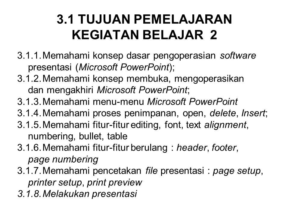 3.1 TUJUAN PEMELAJARAN KEGIATAN BELAJAR 2 3.1.1.Memahami konsep dasar pengoperasian software presentasi (Microsoft PowerPoint); 3.1.2.Memahami konsep