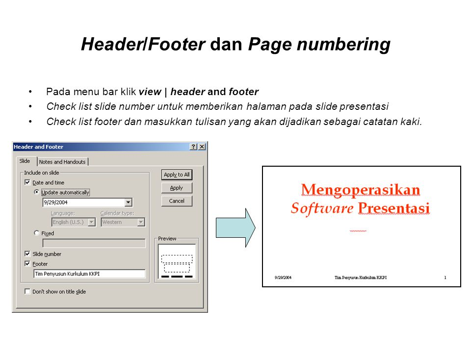 Header/Footer dan Page numbering Pada menu bar klik view | header and footer Check list slide number untuk memberikan halaman pada slide presentasi Ch