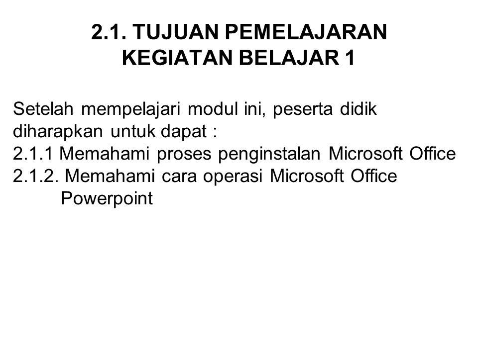 2.2 MATERI PEMELAJARAN KEGIATAN BELAJAR 1 2.2.1.INSTALASI MICROSOFT POWERPOINT 2.2.2.