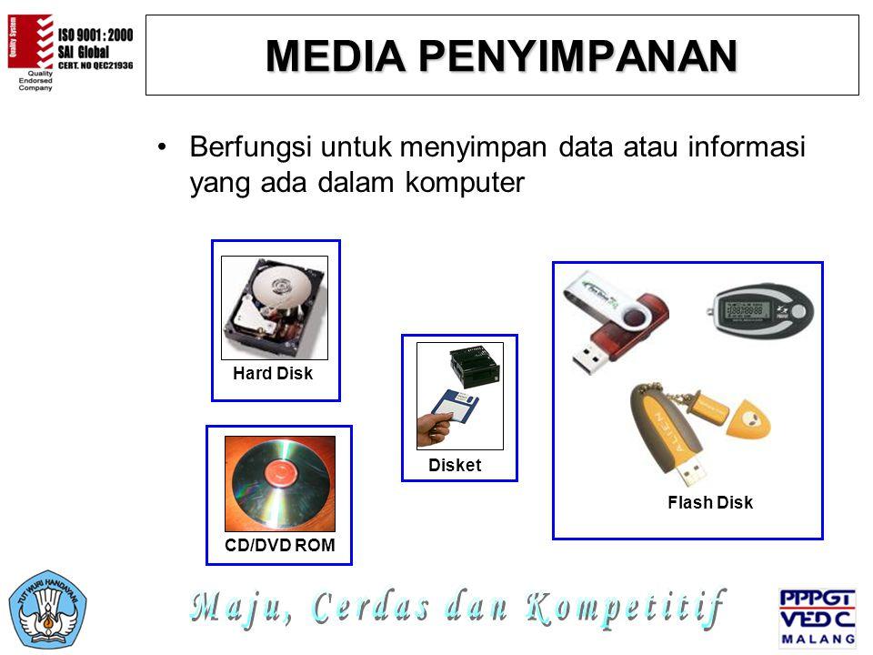 MEDIA PENYIMPANAN Berfungsi untuk menyimpan data atau informasi yang ada dalam komputer Hard Disk Disket CD/DVD ROM Flash Disk