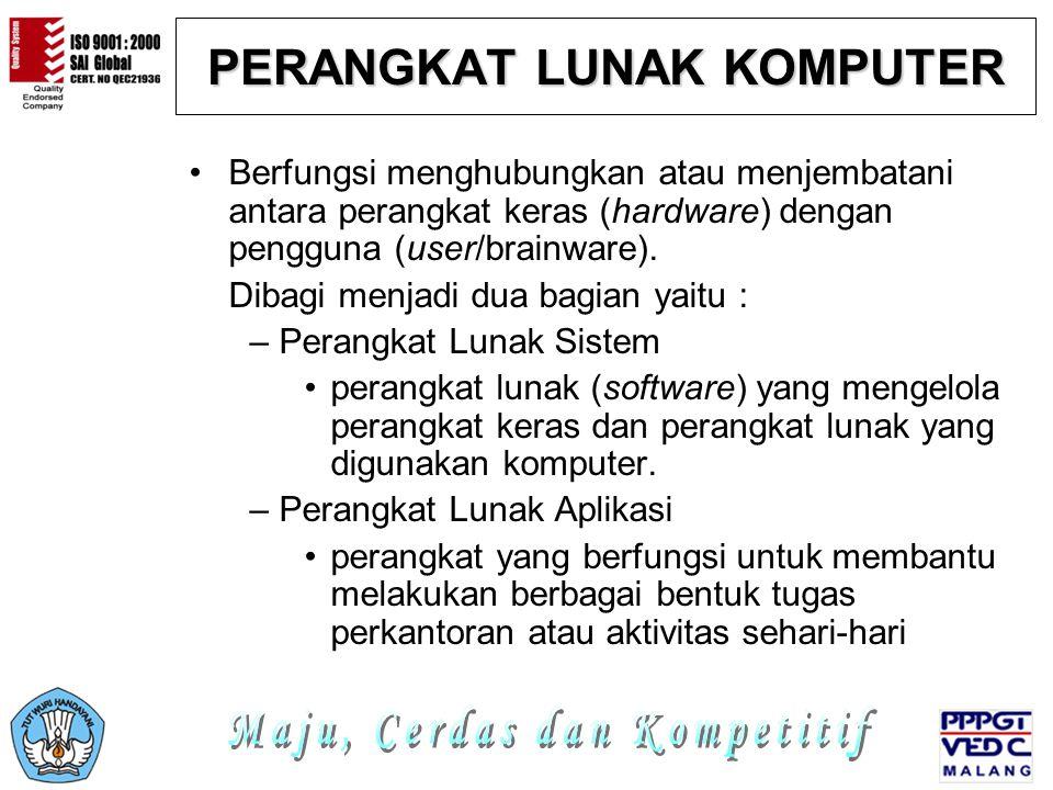 PERANGKAT LUNAK KOMPUTER Berfungsi menghubungkan atau menjembatani antara perangkat keras (hardware) dengan pengguna (user/brainware). Dibagi menjadi