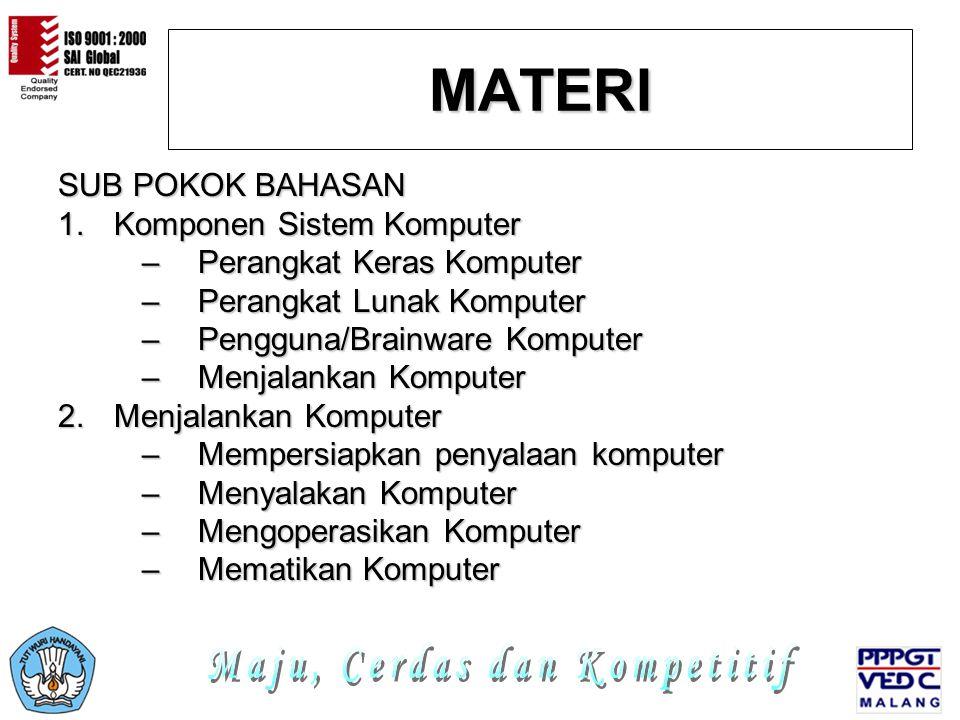 MATERI SUB POKOK BAHASAN 1.K omponen Sistem Komputer –P–P–P–Perangkat Keras Komputer –P–P–P–Perangkat Lunak Komputer –P–P–P–Pengguna/Brainware Kompute