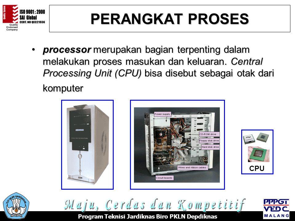 PERANGKAT KELUARAN Berfungsi untuk menampilkan seluruh data yang telah diproses oleh CPU Model Monitor CRT Model Monitor LCD Printer Speaker Program Teknisi Jardiknas Biro PKLN Depdiknas