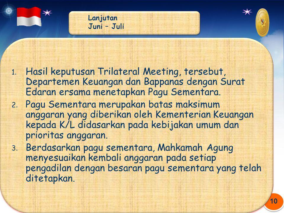 10 1. Hasil keputusan Trilateral Meeting, tersebut, Departemen Keuangan dan Bappanas dengan Surat Edaran ersama menetapkan Pagu Sementara. 2. Pagu Sem
