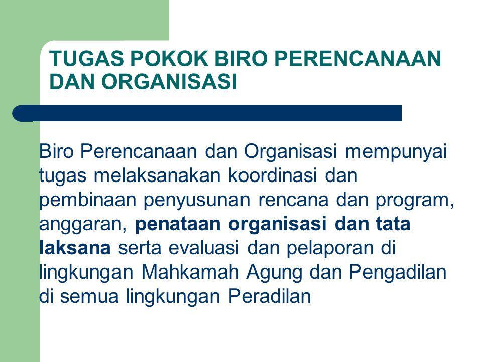 TUGAS POKOK BIRO PERENCANAAN DAN ORGANISASI Biro Perencanaan dan Organisasi mempunyai tugas melaksanakan koordinasi dan pembinaan penyusunan rencana d